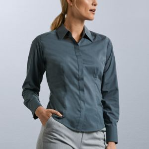 Ladies Long Sleeve Poly-Cotton Easy Care Fitted Poplin Shirt Thumbnail
